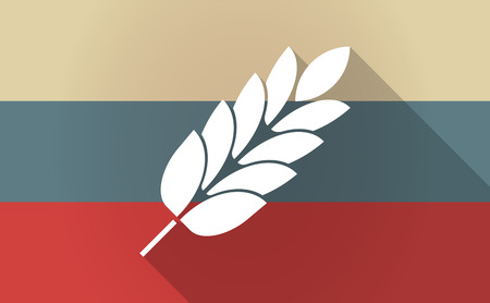 celiac: Illustration of a long shadow Russia flag with  a wheat plant icon Illustration