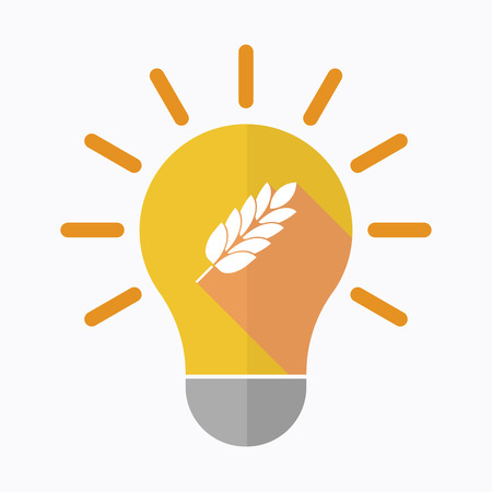 Illustration of an isolated light bulb with  a wheat plant icon Illustration