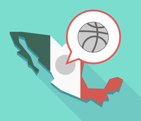 balon de basketball: Illustration of a  Mexico map and a comic balloon with  a basketball ball