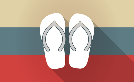 Illustration of a long shadow Russia flag with   a pair of flops