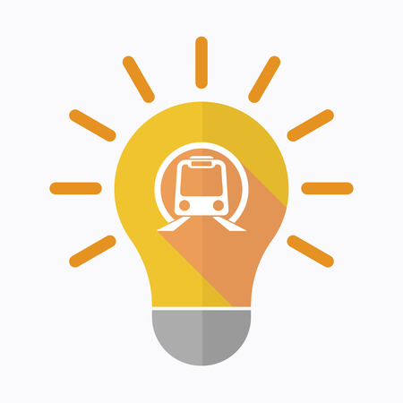 Illustration of an isolated light bulb with  a subway train icon