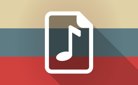 partition musique: Illustration of a long shadow Russia flag with  a music score icon