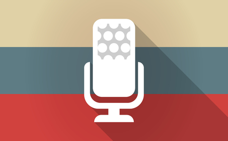 Illustration of a long shadow Russia flag with  a microphone sign Illustration