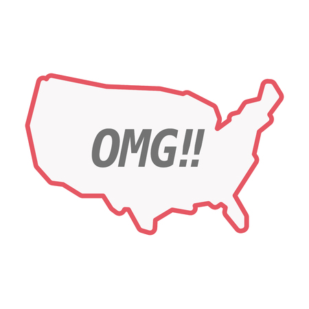 Illustration of an isolated line art United States of America map with    the text OMG!!