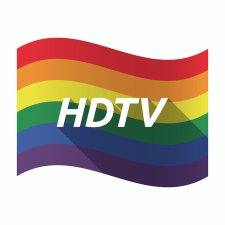hdtv: Illustration of an isolated waving Gay Pride flag with    the text HDTV Illustration