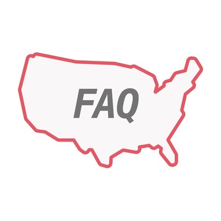Illustration of an isolated line art United States of America map with    the text FAQ
