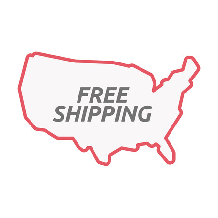 Illustration of an isolated line art United States of America map with    the text FREE SHIPPING