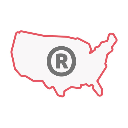 Illustration of an isolated line art United States of America map with    the registered trademark symbol