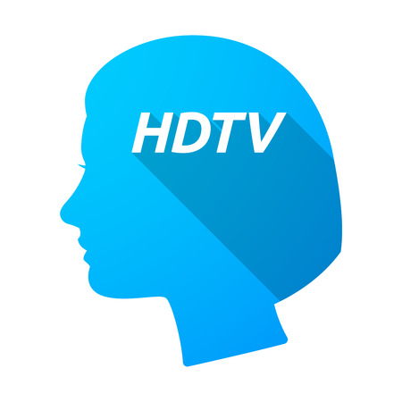 Illustration of an isolated long shadow female head with    the text HDTV