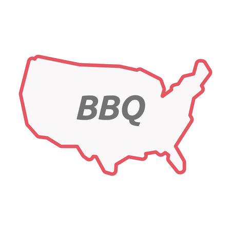 Illustration of an isolated line art United States of America map with    the text BBQ