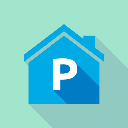 p buildings: Illustration of a long shadow  house with    the letter P