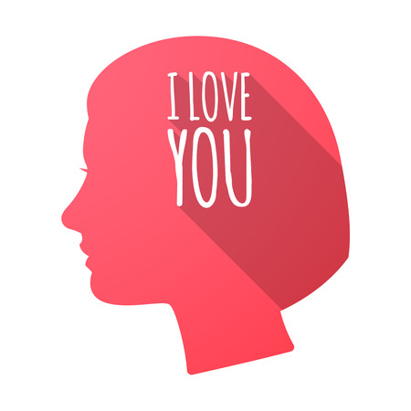 Illustration of an isolated long shadow female head with    the text I LOVE YOU