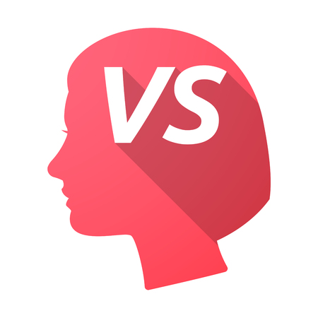 Illustration of an isolated long shadow female head with    the text VS