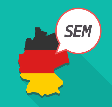 sem: Illustration of a long shadow Germany map, its flag and a comic balloon with    the text SEM
