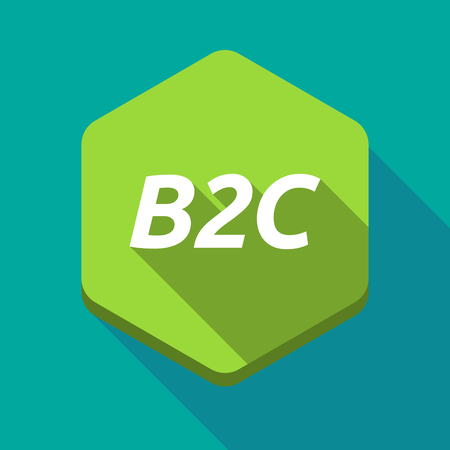 b2c: Illustration of a long shadow hexagonal button with    the text B2C
