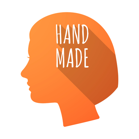 Illustration of an isolated long shadow female head with    the text HAND MADE