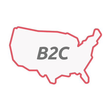 Illustration of an isolated line art United States of America map with    the text B2C Illustration