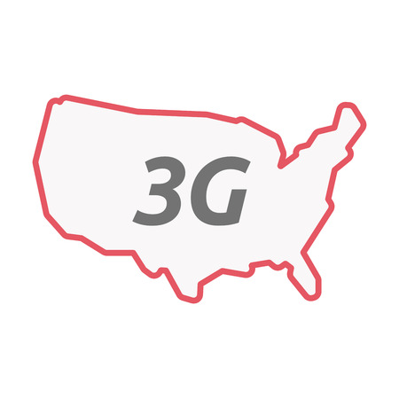 3g: Illustration of an isolated line art United States of America map with    the text 3G