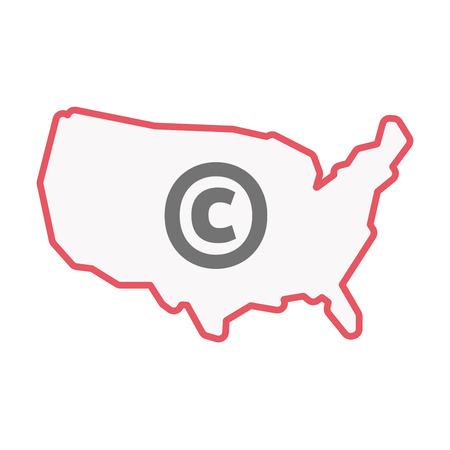 Illustration of an isolated line art United States of America map with    the  copyright sign