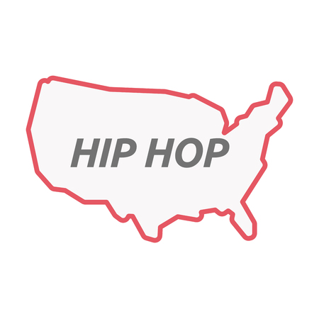 Illustration of an isolated line art United States of America map with    the text HIP HOP