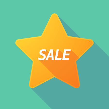 Illustration of a long shadow star with    the text SALE Illustration