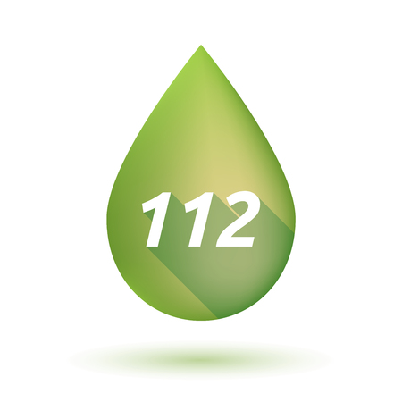 mediterranean diet: Illustration of an isolated  long shadow olive oil drop with    the text 112