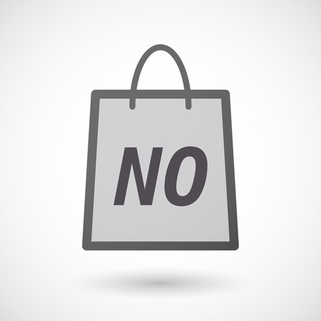 denial: Illustration of an isolated  long shadow shopping bag with    the text NO