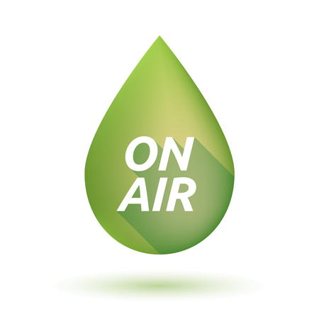 Illustration of an isolated  long shadow olive oil drop with    the text ON AIR