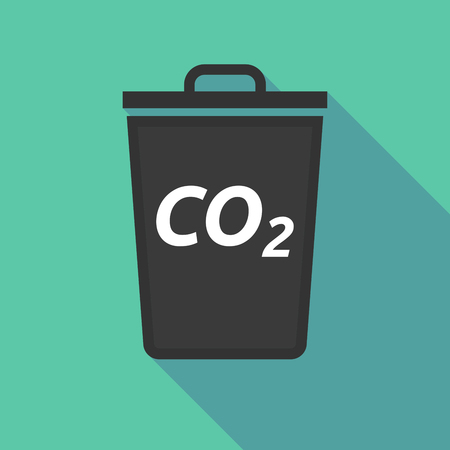 emission: Illustration of a long shadow trash can with    the text CO2 Illustration