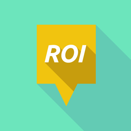 Illustration of a long shadow  tooltip with    the return of investment acronym ROI