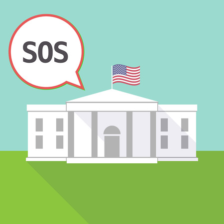 Illustration fo The White House and a comic balloon with the text SOS Vetores