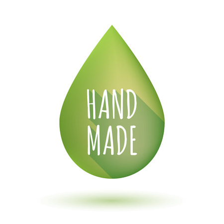 do it yourself: Illustration of an isolated  long shadow olive oil drop with     the text HAND MADE