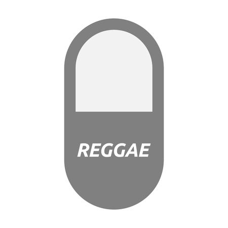 Illustration of an isolated  pill with    the text REGGAE