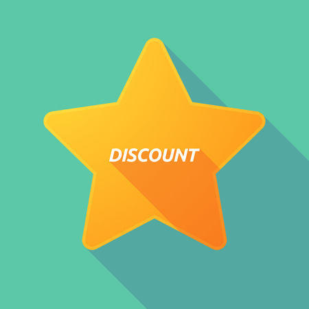 Illustration of a long shadow star with    the text DISCOUNT