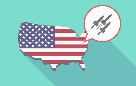 Illustration of a long shadow USA map, its flag and a comic balloon with missiles