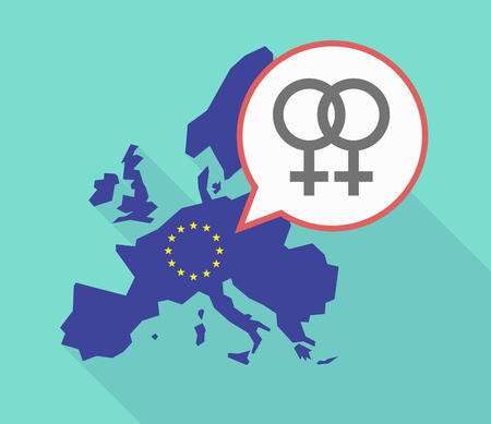 Illustration of a long shadow European Union map, its flag and a comic balloon with a lesbian sign