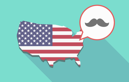 Illustration of a long shadow USA map, its flag and a comic balloon with a moustache