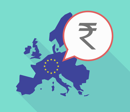 Illustration of a long shadow European Union map, its flag and a comic balloon with a rupee sign Illustration