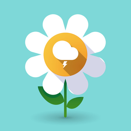 Illustration of a long shadow daisy flower with a stormy cloud