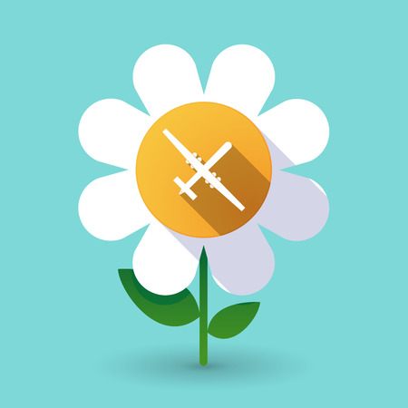 Illustration of a long shadow daisy flower with a war drone