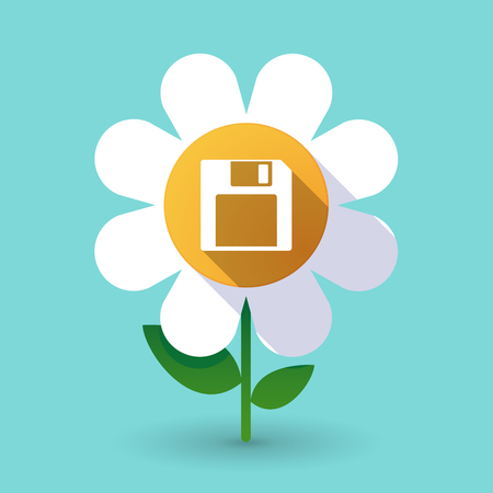 Illustration of a long shadow daisy flower with a floppy disk