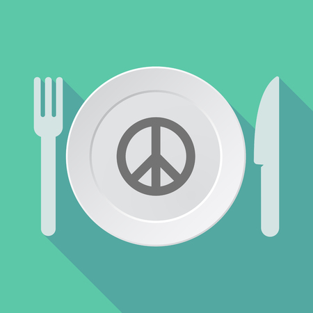 antiwar: Illustration of a long shadow dish, fork and knife with a peace sign
