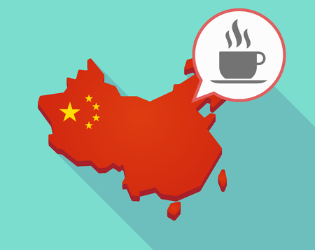 Illustration of a long shadow map of China, its flag and a comic balloon with a cup of coffee Illustration