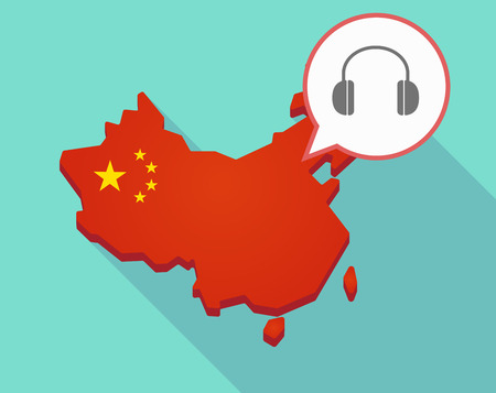 Illustration of a long shadow map of China, its flag and a comic balloon with a earphones Illustration
