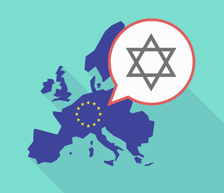 jewish community: Illustration of a long shadow European Union map, its flag and a comic balloon with a David star