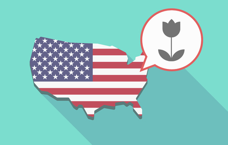 Illustration of a long shadow USA map, its flag and a comic balloon with a tulip