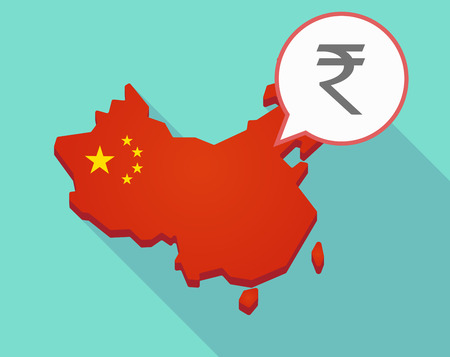 Illustration of a long shadow map of China, its flag and a comic balloon with a rupee sign