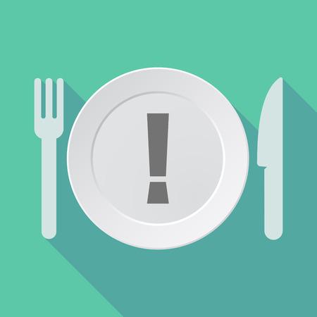 Illustration d'un plat d'ombre portée, fourchette et couteau avec un signe d'admiration Vecteurs