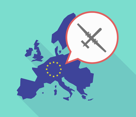Illustration of a long shadow European Union map, its flag and a comic balloon with a war drone