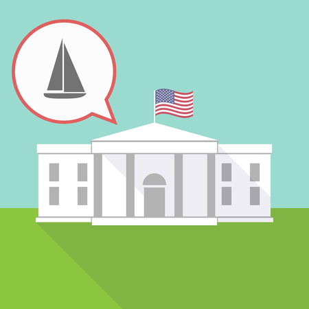 Illustration of The White House and a comic balloon with a ship